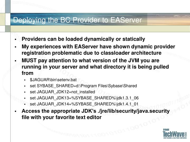 Deploying the BC Provider to EAServer