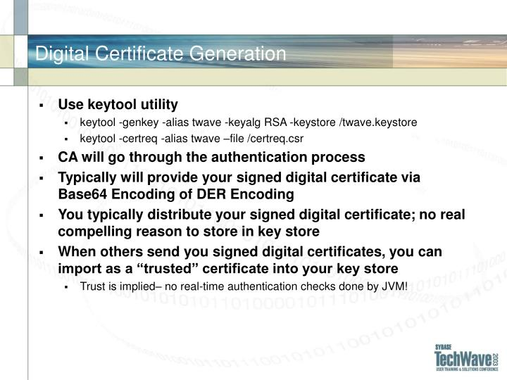 Digital Certificate Generation
