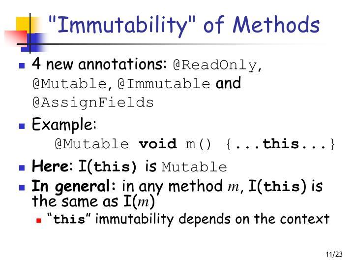 """Immutability"" of Methods"