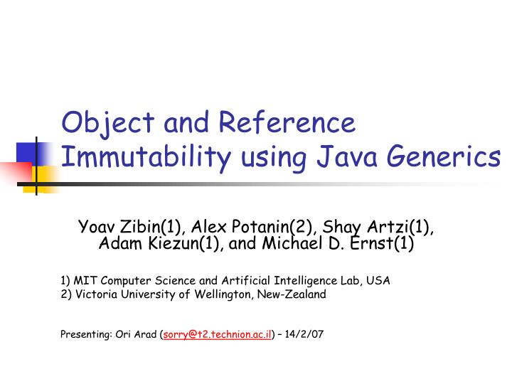 Object and reference immutability using java generics