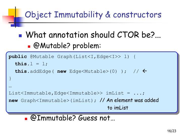 Object Immutability & constructors