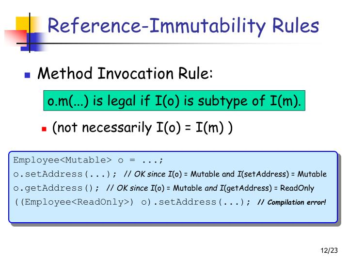 Reference-Immutability Rules