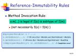 reference immutability rules