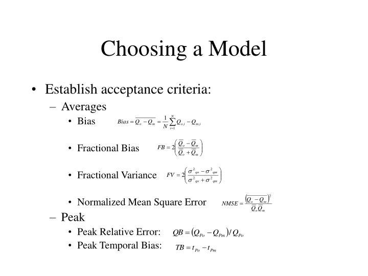 Choosing a Model