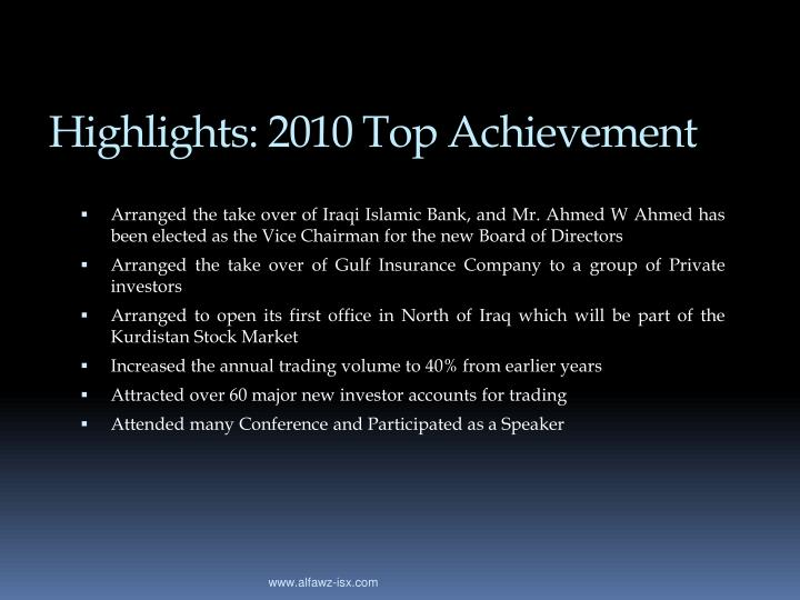 Highlights: 2010 Top Achievement