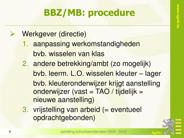 BBZ/MB: procedure