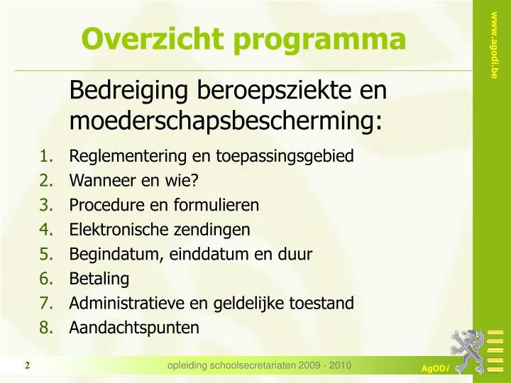 Overzicht programma