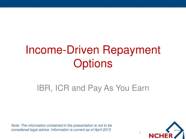 Income driven repayment options