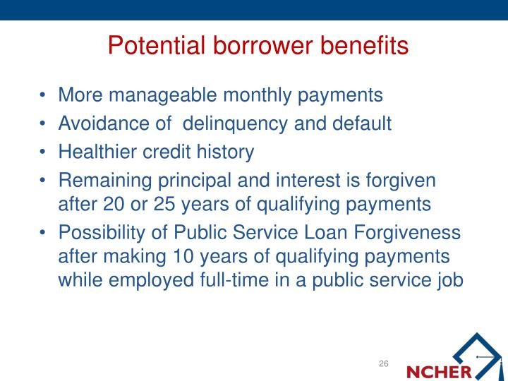 Potential borrower benefits
