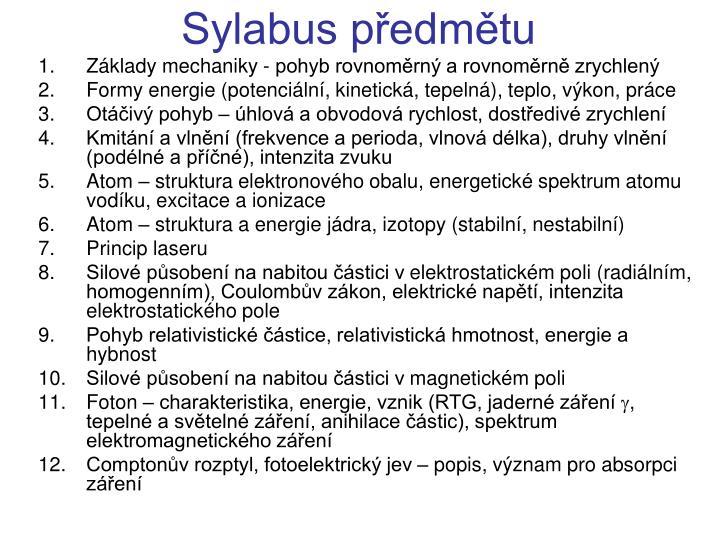 Sylabus předmětu