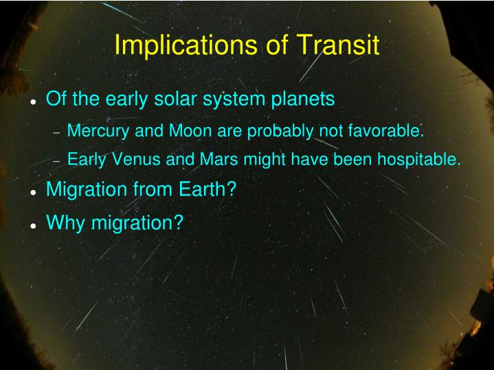 Implications of Transit