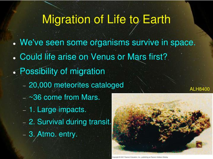 Migration of Life to Earth