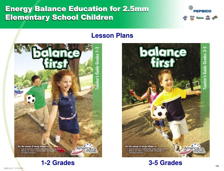 Energy Balance Education for 2.5mm Elementary School Children