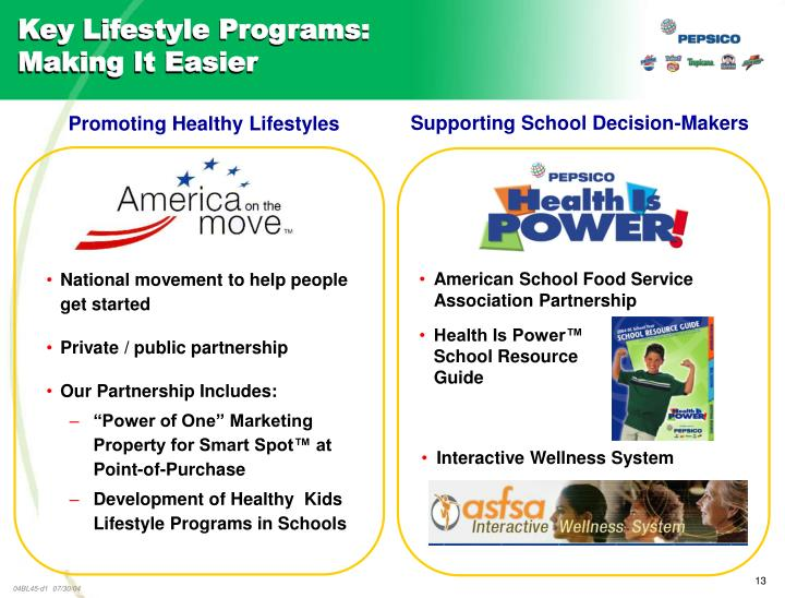 Key Lifestyle Programs: