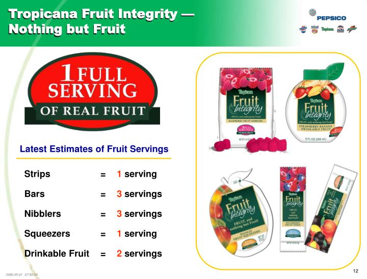 Tropicana Fruit Integrity —