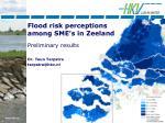 flood risk perceptions among sme s in zeeland