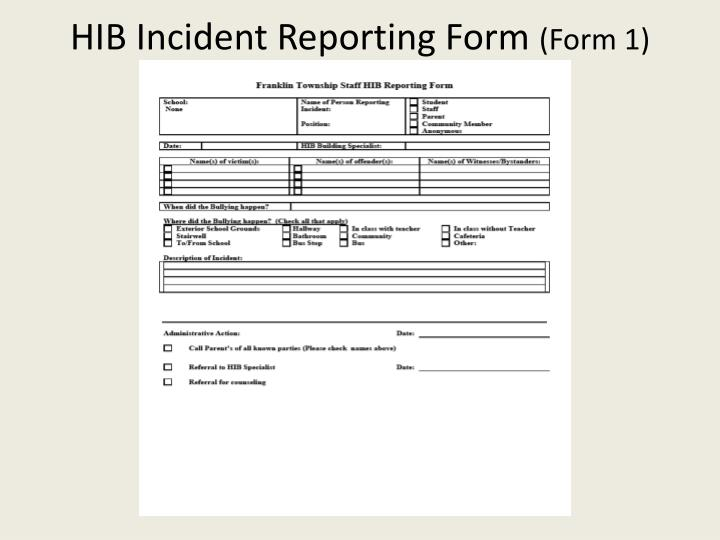 HIB Incident Reporting Form
