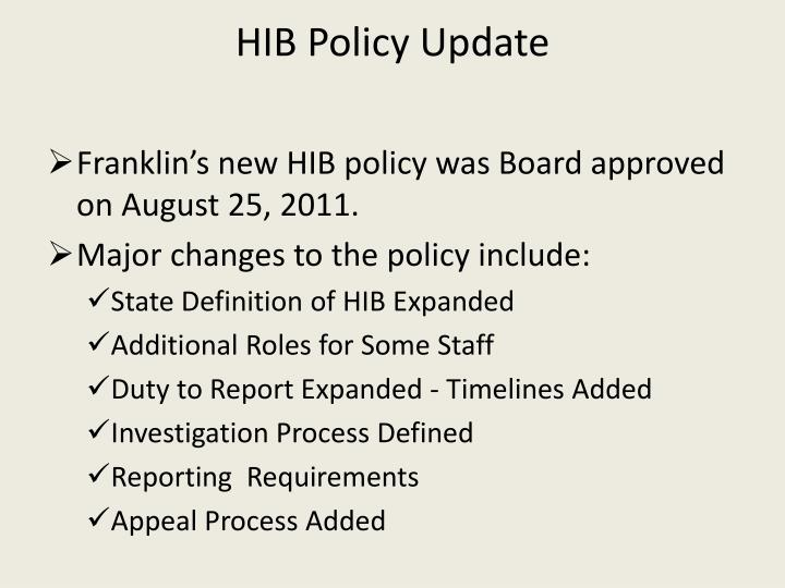 Hib policy update