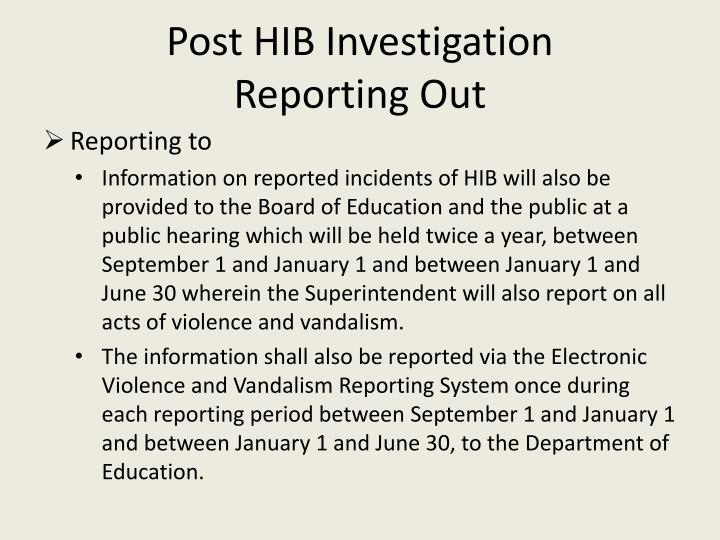 Post HIB Investigation