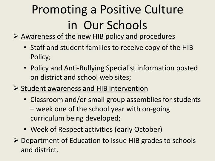 Promoting a Positive Culture