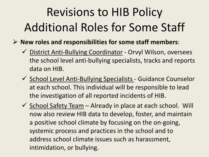 Revisions to HIB Policy