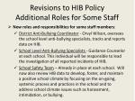 revisions to hib policy additional roles for some staff