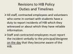 revisions to hib policy duties and timelines