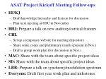 asat project kickoff meeting follow ups