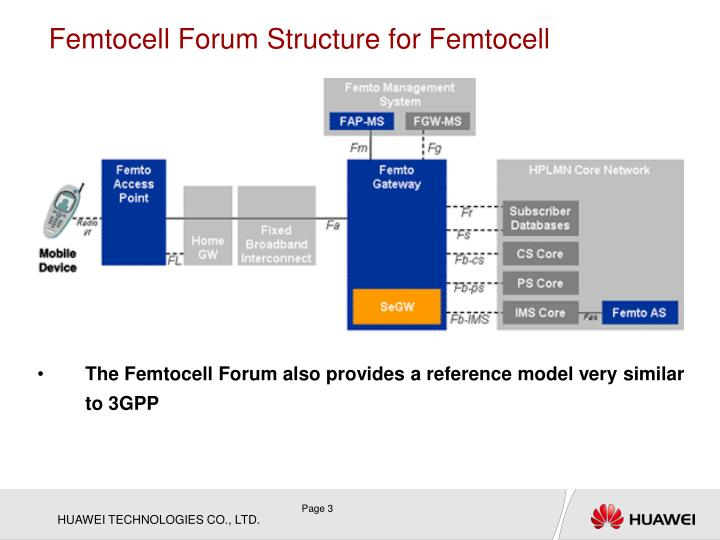 Femtocell Forum Structure for Femtocell