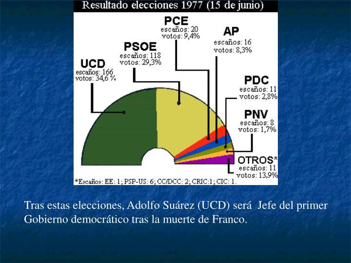 Tras estas elecciones, Adolfo Suárez (UCD) será  Jefe del primer Gobierno democrático tras la muerte de Franco.