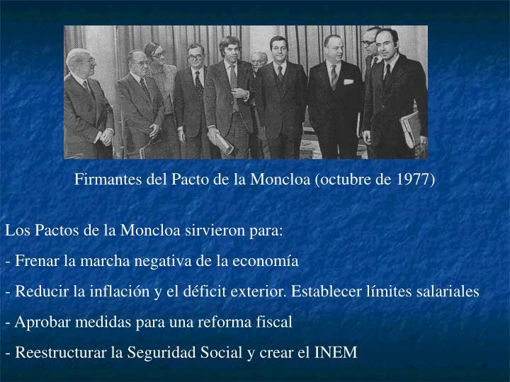 Firmantes del Pacto de la Moncloa (octubre de 1977)