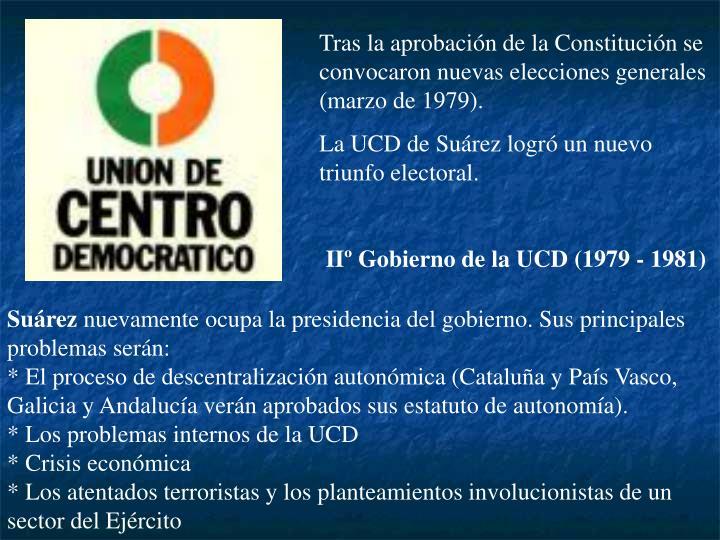 Tras la aprobación de la Constitución se convocaron nuevas elecciones generales (marzo de 1979).