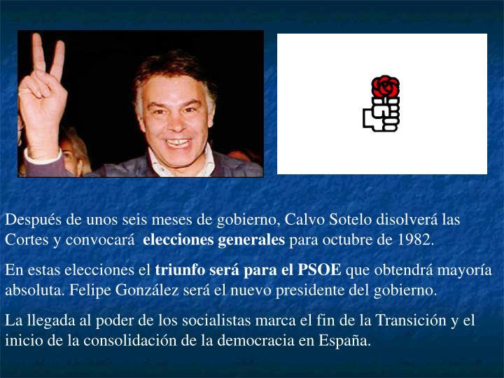 Después de unos seis meses de gobierno, Calvo Sotelo disolverá las Cortes y convocará