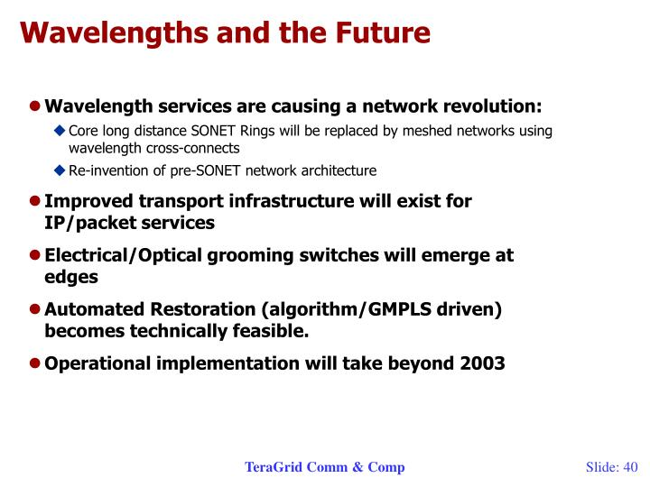 Wavelengths and the Future