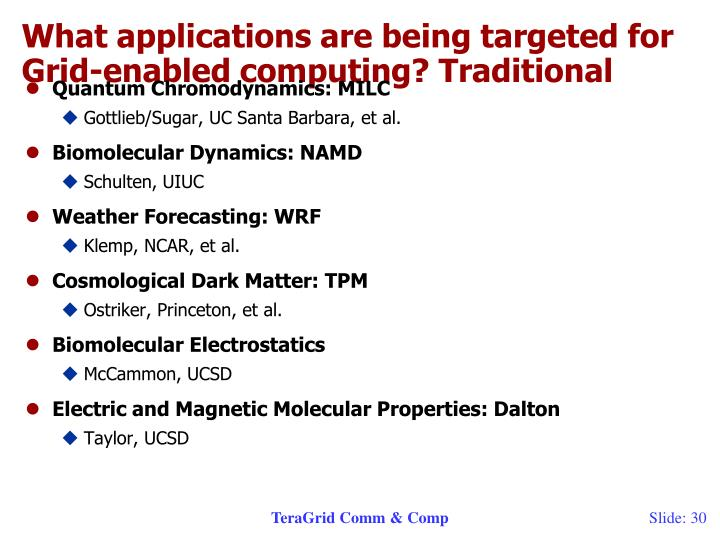 What applications are being targeted for Grid-enabled computing? Traditional