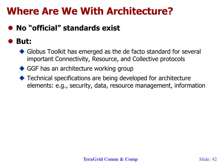 Where Are We With Architecture?