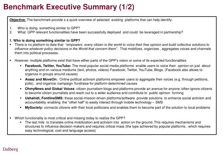 Benchmark Executive Summary (1/2)