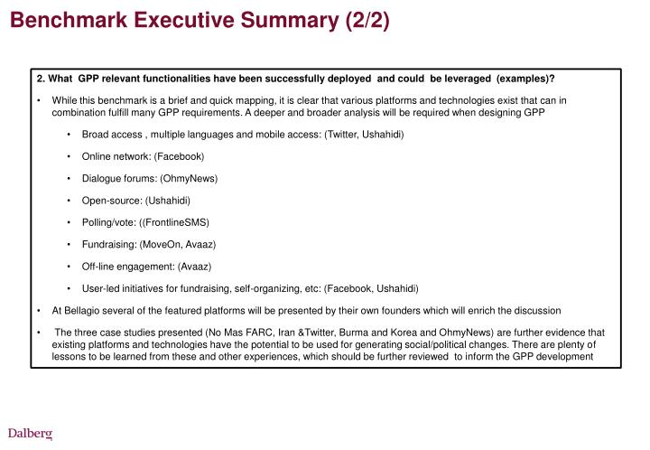 Benchmark Executive Summary (2/2)