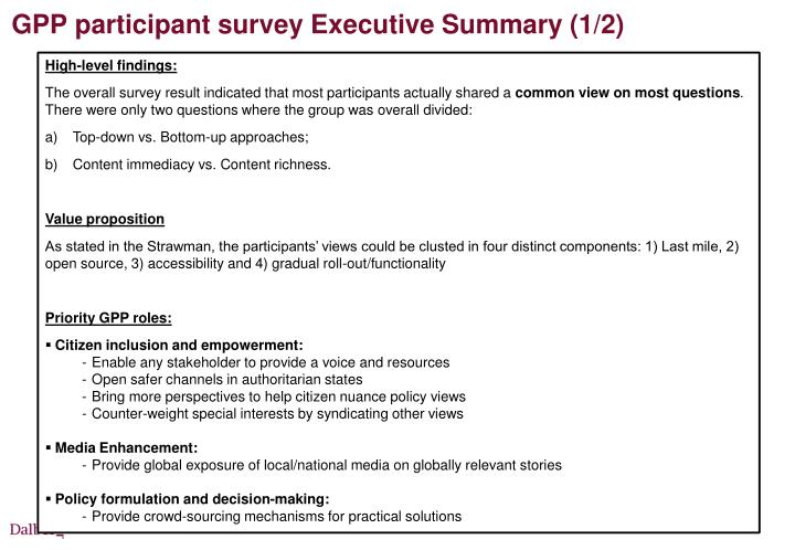 GPP participant survey Executive Summary (1/2)