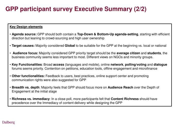GPP participant survey Executive Summary (2/2)