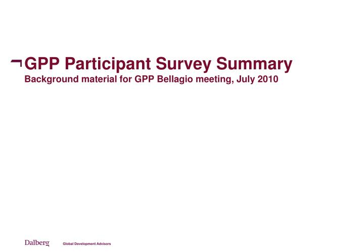 GPP Participant Survey Summary