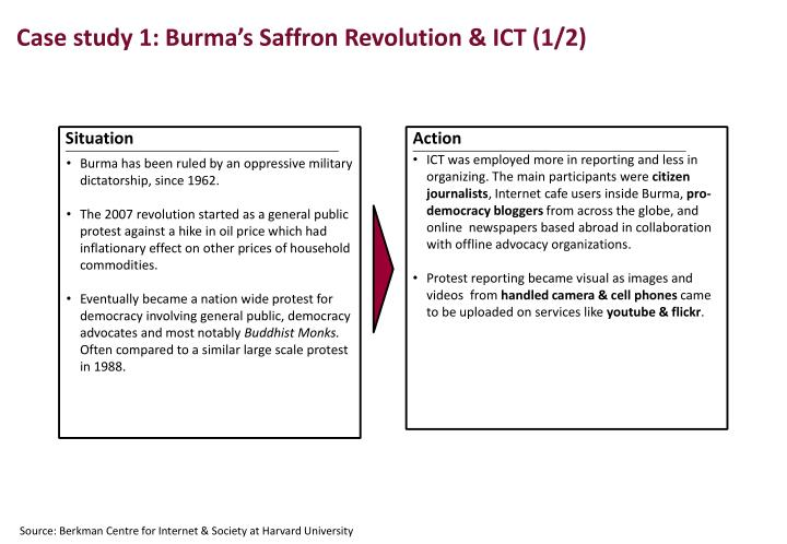 Case study 1: Burma's Saffron Revolution & ICT (1/2)