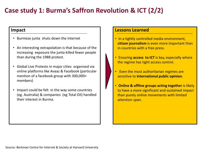 Case study 1: Burma's Saffron Revolution & ICT (2/2)