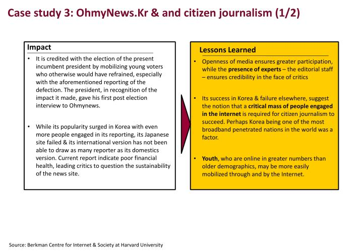 Case study 3: OhmyNews.Kr & and citizen journalism (1/2)