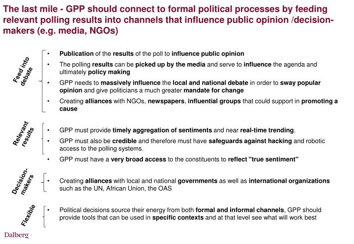 The last mile - GPP should connect to formal political processes by feeding relevant polling results into channels that influence public opinion /decision-makers (e.g. media, NGOs)