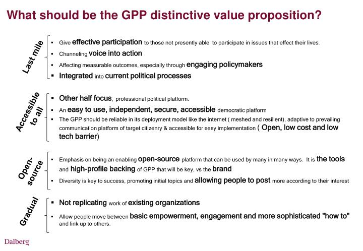 What should be the GPP distinctive value proposition?
