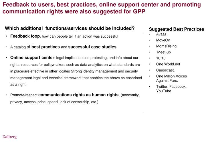 Feedback to users, best practices, online support center and promoting communication rights were also suggested for GPP