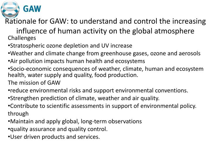 Rationale for GAW: to