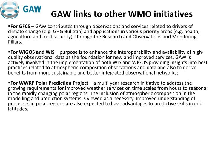 GAW links to other WMO initiatives