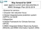 way forward for gaw seen against current and new priorities in wmo strategic plan 2016 2019